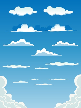 illustration of a collection of various cartoon clouds on a blue sky background.  Vector