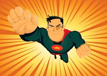 vendicatore: Illustrazione di un supereroe cartone animato potente carica con sabbiatura sfondo raggi di sole Vettoriali