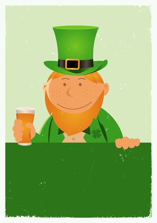 Illustration of a cartoon St-Patrick character for the irish national holidays. Cheers ! Vector