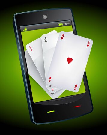 Illustration of four poker aces on a smartphone device, for poker, bridge or casino  advertisement Vector