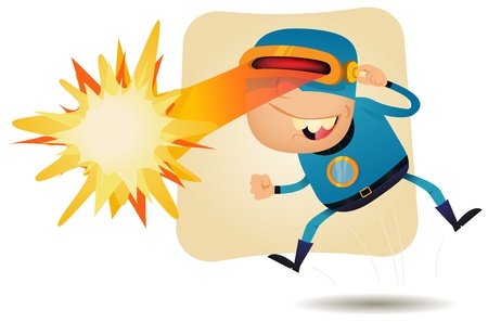 Illustration of a funny cartoon superhero character using his super power, laser blast from the eyes Illustration