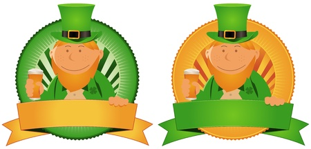 Illustration of two cartoon banners with St-Patrick character for the irish national  holidays. Use it to ornate your beer bottle Vector