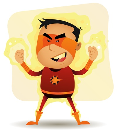 Illustration of a funny cartoon superhero character with super power Vector