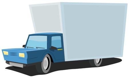 Illustration of a cartoon truck with large copy space on it