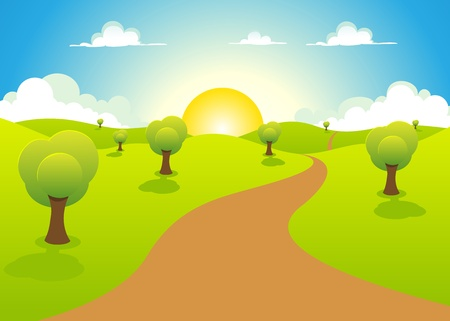 Illustration of a cartoon spring or summer landscape with trees, blue sky, sun and  cloudscape Vector