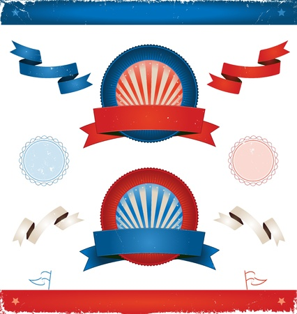 Illustration of a set of american colored vintage ribbons, banners, labels, shields  and seal stamper for elections or fourth of july national holiday Vector