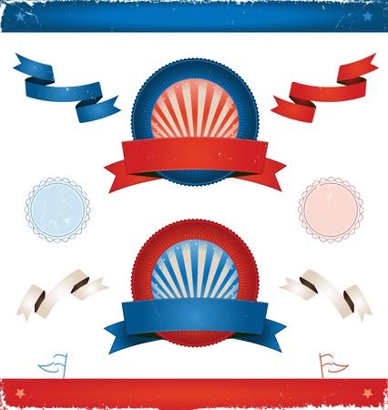 premios: Ilustraci�n de un conjunto de cintas de colores cl�sicos americanos, carteles, etiquetas, escudos y Stamper sello para las elecciones o la cuarta parte de julio fiesta nacional Vectores