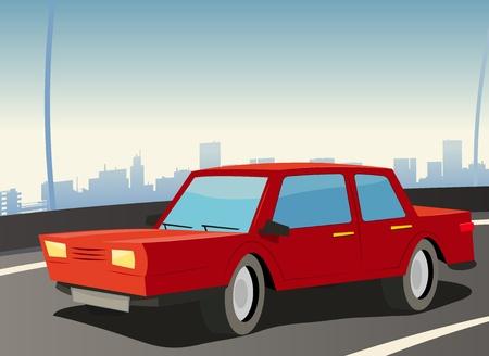Illustration of a red domestic car on the urban highway Ilustração