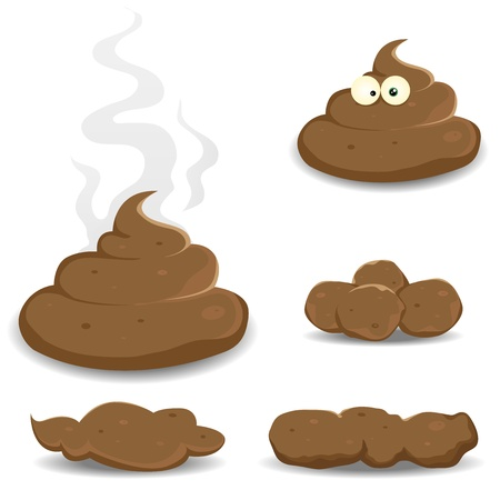 poop: Illustration of various cartoon dung, shit, pooh, and other dog dejections