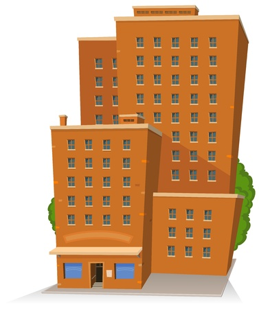 Illustration of a cartoon big and tall building with lots of windows, rooms and offices