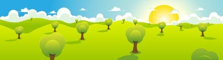 field and sky: Illustrazione di un cartone animato a molla o paesaggio estivo con alberi, cielo blu, sole e Cloudscape