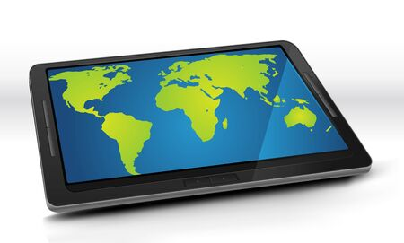 Illustration of a world map inside the screen of an elegant tablet pc