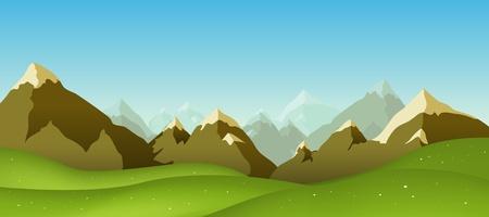 Illustration of a cartoon mountain range landscape in spring, summer or winter