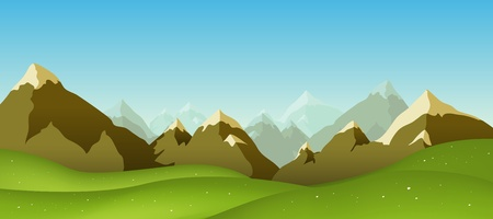 Illustration of a cartoon mountain range landscape in spring, summer or winter