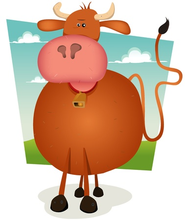 Illustration of a cartoon bull inside summer nature landscape Vector