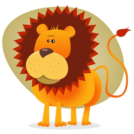 standing lion: Illustration of the king of the jungle animals, in cartoon cute style Illustration