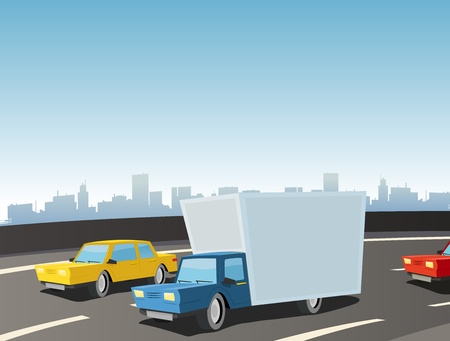Illustration of cartoon cars and truck driving on the highway Vector