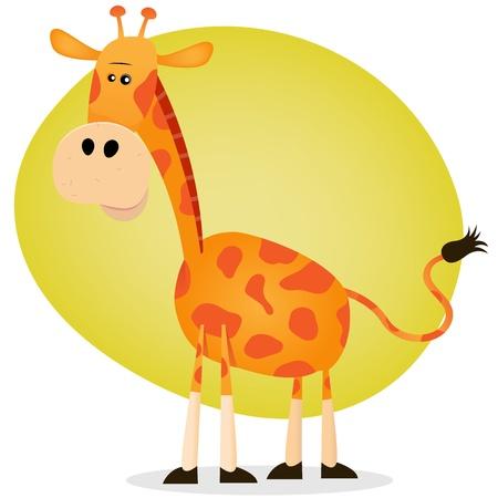 herbivorous animals: Illustration of a tiny giraffe from savannah, in cartoon style