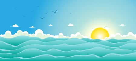 Illustration of a cartoon wide ocean for spring, or summer holiday vacations header,  with seagulls, rough sea, foam and sunlight Illustration