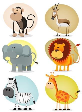 Illustratie van een set van cartoon dieren van de Afrikaanse savanne, waaronder leeuwen, olifanten, giraffen, gazellen, apen en zebra