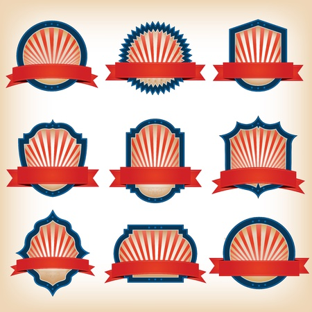 circus sign: Illustration of a collection of shield and other badges with banners, labels, ribbons  for fourth of july holidays and any patriotic red and blue colored event Illustration