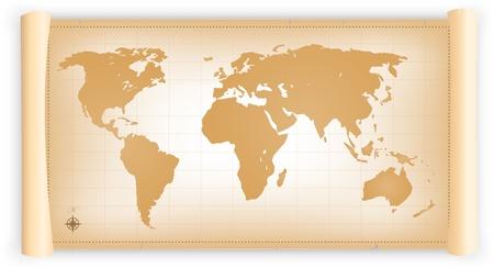 planisphere: Illustrazione di un planisfero del vecchio mondo su una vecchia pergamena scorrere