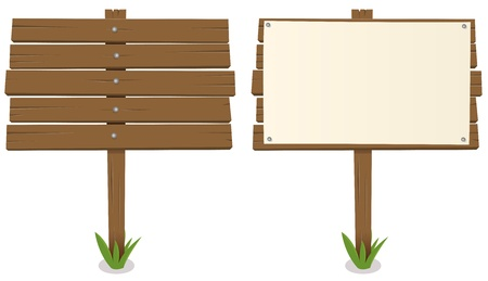 flat panel: Illustration of a cartoon rustic wood billboard with and without sign