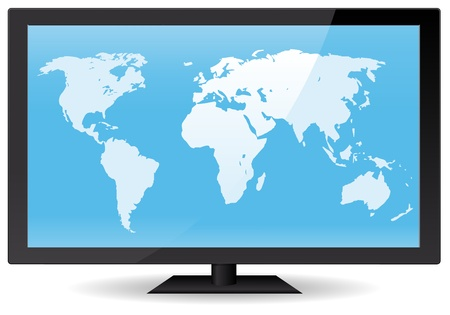 Illustration of a world map inside wide flat computer or Tv screen. Vector eps and 