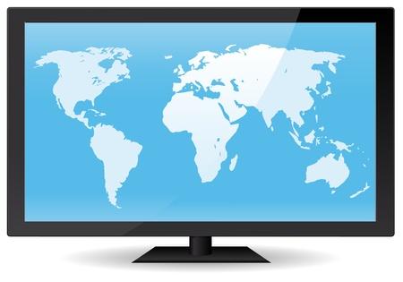 planisphere: Illustrazione di una mappa del mondo interno a livello del computer o uno schermo TV piatto. Eps vettoriali ad alta risoluzione e file JPEG inclusa. Modello immaginario di schermo piatto non effettuate da qualsiasi reale prodotto esistente protetto da copyright Vettoriali