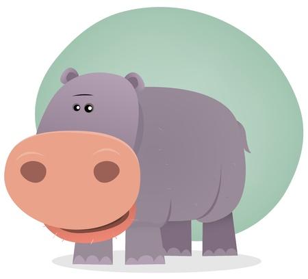 hipopotamo caricatura: Ilustración de un hipopótamo pequeño de la sabana, en el estilo de dibujos animados