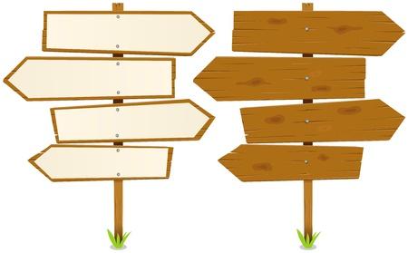 arrow wood: Ilustraci�n de las flechas de madera de dibujos animados con el signo, blanco y en madera en bruto