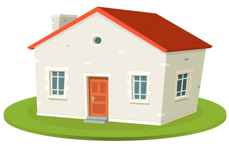 Illustration d'un dessin animé français de style petite maison construite à la location ou à la vente, isolé sur fond blanc