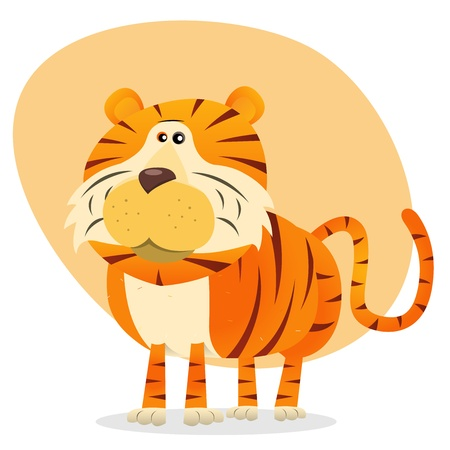 Illustration of a cartoon bengal tiger animal character Vector