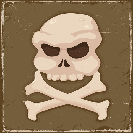 Illustration of a grunge pirate skull and cross bones background poster Stock Vector - 12484531