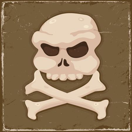dientes sucios: Ilustraci�n de un grunge cr�neo del pirata y la cruz del cartel de fondo los huesos