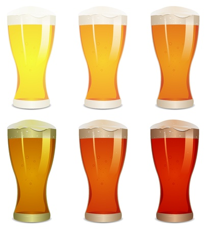 beer drinking: Illustration of a mouth watering set with various pints of beer