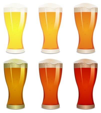 ámbar: Ilustraci�n de una boca de riego establecido con diversas pintas de cerveza Vectores