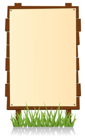 �tag�re bois: Illustration d'un panneau vertical de bande dessin�e en bois avec signe blanc pour votre publicit�