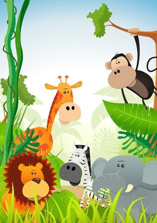 selva: Ilustración de los animales lindos de la historieta salvajes de la sabana africana, entre ellos leones, elefantes, jirafas, gacelas, monos y cebras en el fondo la selva