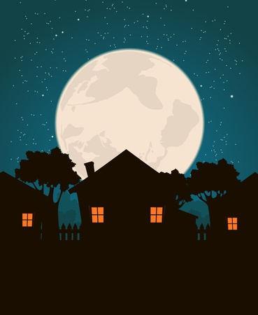 residential district: Illustration of a cartoon residential district on a starry moonrise background. Time to sleep Illustration