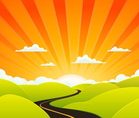 long road: Illustration of a cartoon symbolic road going towards paradise Illustration