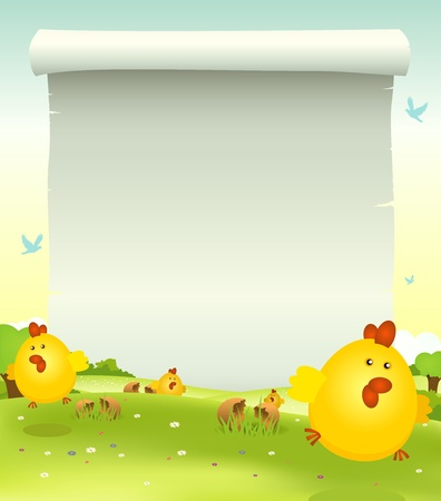 Illustration of cartoon happy cute easter chicken jumping in the grass on a spring landscape background with parchment scroll sign for your message Vector