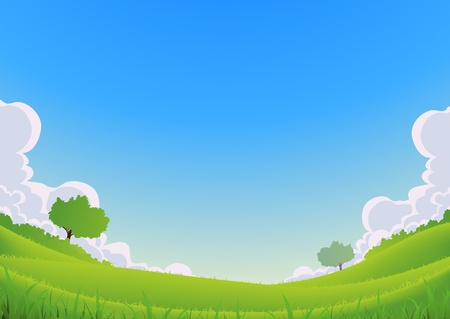 wide angle: Illustration of a cartoon spring or summer seasons landscape