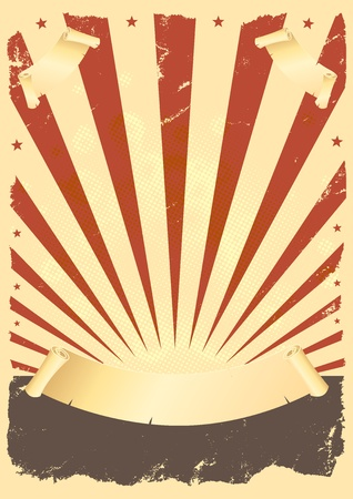 Illustration of a vintage fourth of july background with parchment scroll and banners Vector