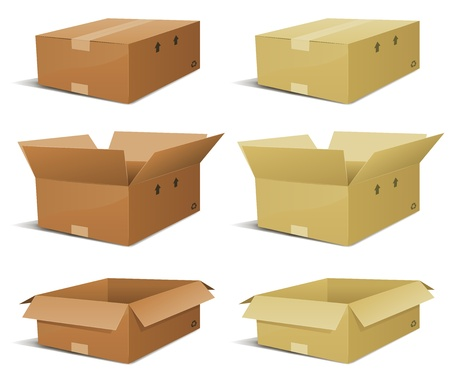 cardboard box: Illustration of a set of various cardboard box delivery, open and closed in two colors