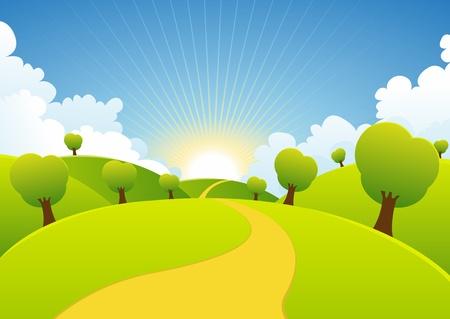 Illustrazione di un cartone animato o stagione estiva paesaggio primaverile paese Vettoriali
