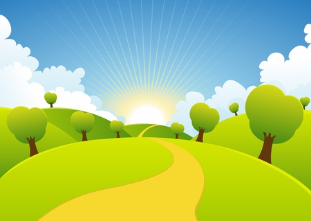 sol caricatura: Ilustración de un verano de dibujos animados o de paisaje, primavera, estación país Vectores