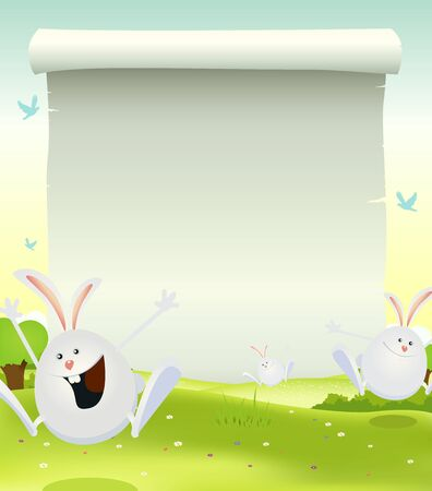 an announcement message: Illustration of cartoon happy cute easter rabbits jumping in the grass on a spring landscape background with parchment scroll sign for announcement message