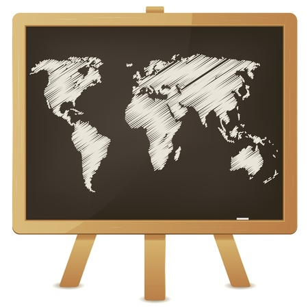 planisphere: Illustration of an outlined world map with chalk on a wood blackboard Illustration