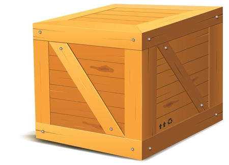 closed box: Illustration of a cartoon wooden cube package Illustration